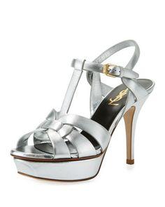 21010cad7d26 Saint Laurent Tribute Metallic Leather Platform Sandals