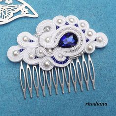 Items similar to White & Sapphire Soutache comb, Wedding Hair Accessory, Soutache , Wedding Hair on Etsy I Love Jewelry, Hair Jewelry, Bridal Jewelry, Unique Jewelry, Soutache Pattern, Pattern Pictures, Pattern Ideas, Style Couture, Hair Comb Wedding