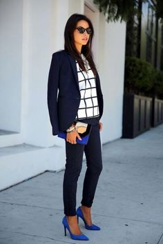 Not a fan of window pane but i actually like this~ fashionable-work-outfits-for-women-8