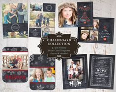 Holiday Photo Card Template Collection set of 4 by SassyInkStudio, $25.00