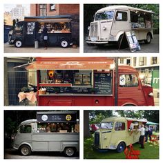 How dope are these food trucks? If you plan on starting your food truck business, call us for your insurance needs. Citroen Type H, Citroen H Van, Mobile Cafe, Mobile Shop, Food Trucks, Catering Van, Coffee Van, Volkswagen, Bistro Food