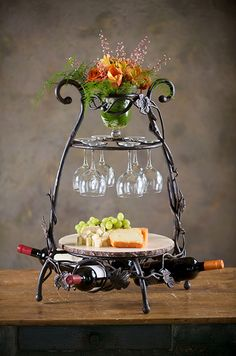 Wine Gift - Wrought Iron Wine and Cheese Server will be perfect for your holiday parties!