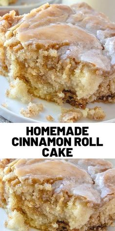 This Homemade Cinnamon Roll Cake dessert has all the flavor of a cinnamon roll b. - This Homemade Cinnamon Roll Cake dessert has all the flavor of a cinnamon roll but in an easy cake - Easy Delicious Recipes, Sweet Recipes, Delicious Desserts, Yummy Food, Tasty, Köstliche Desserts, Dessert Recipes, Dinner Recipes, Coffee Cake
