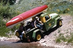 willys truck w/ canoe Jeep Pickup, Jeep Truck, Canoe Trip, Canoe And Kayak, Whitewater Kayaking, Canoeing, Willis Pickup, Willys Wagon, Jeep Willys