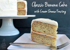 Classic Banana Cake with Cream Cheese Frosting on MyRecipeMagic.com #cake #banana #creamcheese