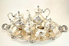 Antique Silverplate Tea and Coffee Set Reed by FindsFromYesteryear