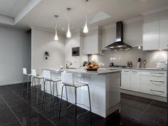 Inspiring Modern Kitchen Cabinet Design Ideas For A Modern Person 09 Galley Kitchen Design, Modern Kitchen Cabinets, Kitchen Cabinet Design, Open Plan Kitchen, Modern Kitchen Design, Kitchen Furniture, Kitchen Decor, Kitchen Designs, Furniture Design