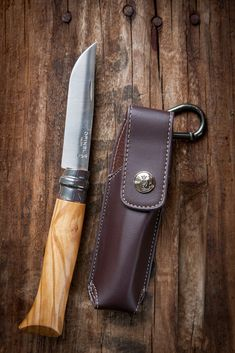 Opinel Olive Wood Folding Knife No 8 with Carrying Case Sheath