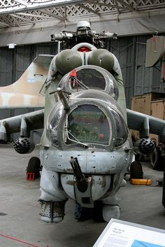 """Go Ugly; Mil Design Bureau Hind """"D"""" awaiting restoration in Duxford, UK Mi 24 Hind, Attack Helicopter, Military Helicopter, Military Aircraft, Military Jets, Fighter Aircraft, Fighter Jets, Jas 39 Gripen, Air Machine"""