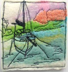 borduren met de naaimachine op vilt - het vilt als ondergrond voor een afbeelding geeft een erg mooi effect