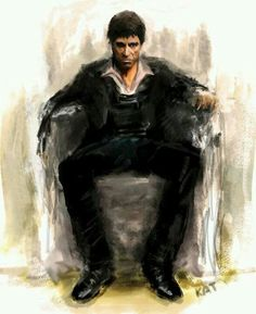 Scarface - moody artwork showing Tony Montana wallowing in his own self pity #GangsterMovie #GangsterFlick