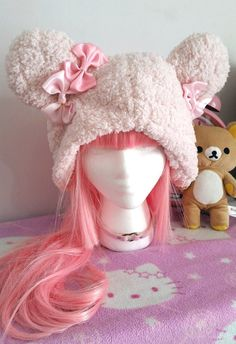 DISCOUNTED ITEM FOR BEING ONE OF KIND, FIRST ITEM IN SERIES  Feel warm and cozy while wearing this hand-sewn, one of a kind hat!  Made with kawaii
