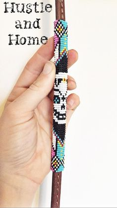 Sugar Skull Beaded Under Over Leather Whip by HUSTLEandHOME