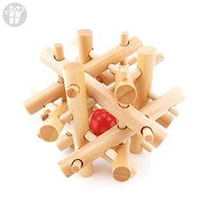 1x Wisdom Logic Mind Challenge Brainteaser Scientific Magic Puzzle Toys Disentanglement Game WY2241 Wooden 12 Sticks Red Ball Burr Lock (*Amazon Partner-Link)