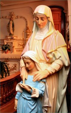 What a beautiful statue this is of Our Lady and St Anne! Catholic Prayers, Catholic Art, Catholic Saints, Patron Saints, Roman Catholic, St Anne, Blessed Mother Mary, Blessed Virgin Mary, Religious Images