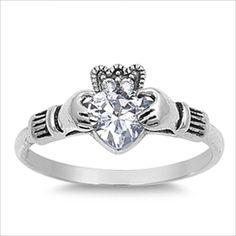 .75ct Heart cut Claddagh Ring .925 Silver Designer