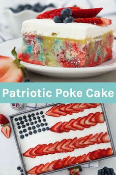 This Red White and Blue Poke Cake is the perfect Patriotic cake for a of July dessert. It's a tye dye vanilla cake with pudding, whipped cream & berries Poke Cake Recipes, Poke Cakes, Dump Cakes, Frosting Recipes, Patriotic Desserts, Holiday Desserts, Holiday Baking, Easter Desserts, Birthday Desserts