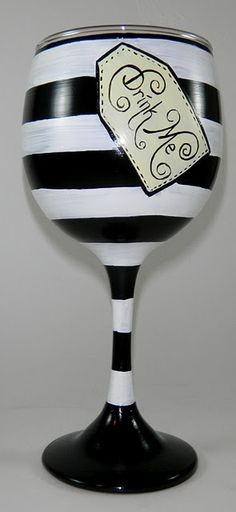 "Great idea for wine glasses, Alice in Wonderland ""drink me"".   - for Olaf mug"