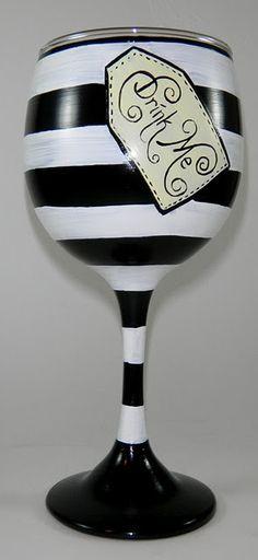 "Great idea for wine glasses, Alice in Wonderland ""drink me"""