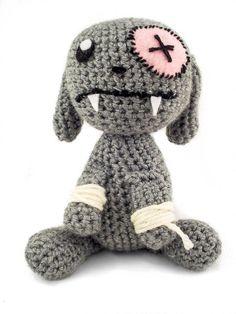 PDF Crochet Pattern-Amigurumi Vampire Emo Bunny - Suraisu. Such a cute little guy!