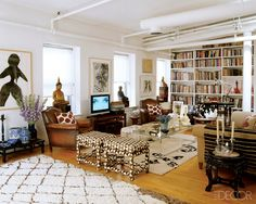 Eclectic and Open Living Space. Madeline Weinrib's living room (elle decor)