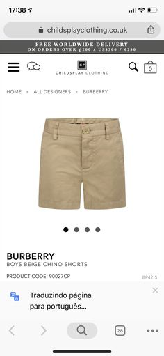 Beige Chinos, Kids Fashion Boy, Chino Shorts, Burberry, Khaki Pants, Boys, Clothes, Design, Style