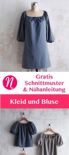 Gratis Schnittmuster für Kleid und Bluse mit gerafftem Ausschnitt. Größe S/M/L. PDF-Schnitt / Nähanleitung. Nähtalente - Magazin für kostenlose Schnittmuster - Free PDF sewing pattern for a woman dress and blouse. Size S/M/L