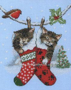 Buy Christmas Kittens Cross Stitch Kit online at sewandso.co.uk