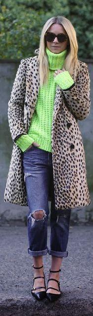 leopard coat and neon green sweater - cute street weekend style #pop #yarn by Atlantic - Pacific