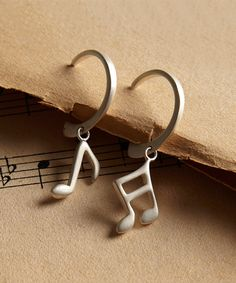 Look at this Sterling Silver Music Note Drop Earrings on #zulily today!