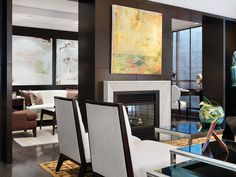 One Bedford at Bloor, Toronto. Interior design by Munge Leung. Home Living Room, Living Room Designs, Fireplace Design, Fireplace Mantels, Fireplaces, Mantle, Family Room Decorating, Contemporary Interior, House Design