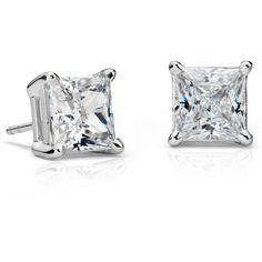 Blue Nile Princess-Cut Diamond Stud Earrings (101.630 RON) ❤ liked on Polyvore featuring jewelry, earrings, accessories, 18k earrings, princess cut jewelry, diamond stud earrings, earring jewelry and blue nile earrings