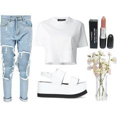 blanc. bleu. by kyalouise on Polyvore featuring polyvore fashion style Dsquared2 Boohoo Joseph whitecroptop