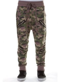 Low crotch sweatpants with two zippers on deep front pockets in camouflage print. MENS jogger pants. Men's fashion. Hip hop dance pants. Harlem style. Dance pants. Quality joggers.