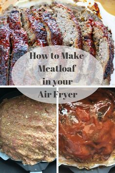 Fryer Meatloaf Making meatloaf in the Air Fryer became a game changer for us. Make delicious moist meatloaf in less time in your Air Fryer. via meatloaf in the Air Fryer became a game changer for us. Make delicious moist meatloaf in le Air Fryer Oven Recipes, Air Frier Recipes, Air Fryer Dinner Recipes, Air Fryer Recipes Ground Beef, Meatloaf Recipes, Gourmet Recipes, Cooking Recipes, Cooking Games, Pastries