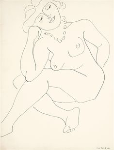 Henri Matisse, NU ASSIS (THÈMES ET VARIATIONS) OU FEMME AU COLLIER, 1937, pen and ink on paper