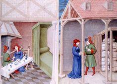 La vaisselle commune : le tranchoir   Boccace, Le Décaméron, Flandres, 1432  Paris, BnF, Arsenal, manuscrit 5070 fol. 314