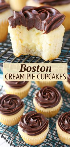 These Boston Cream Pie Cupcakes are to die for! Moist vanilla cake, pastry cream filling and a beautiful chocolate ganache topping make this one tasty cupcake you'll definitely want to sink your teeth into. No Bake Desserts, Just Desserts, Delicious Desserts, Dessert Recipes, Boston Cream Pie Cupcakes, Yummy Treats, Sweet Treats, Moist Vanilla Cake, Let Them Eat Cake
