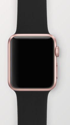 Apple Watch - 38mm Rose Gold with Black Sport Band. Oooooooh mmmmmm ggggg