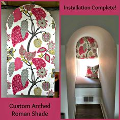 This arched roman shade with matching pillow adds color and punch to this small alcove.  #romanshades #windowtreatments