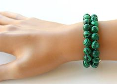 Malachite bracelet natural leather bracelet christmas gift