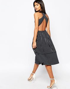Image 1 of ASOS Midi Skater Dress In Pinstripe With Cross Back