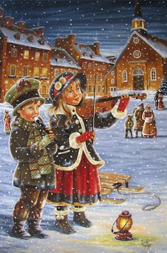 Ginette Paquette, Un soir, 2014 Christmas Scenes, Christmas Past, Christmas Carol, Christmas Pictures, Vintage Greeting Cards, Vintage Christmas Cards, Vintage Postcards, Christmas Drawing, Christmas Paintings