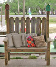 birdhouse window sutters | Outdoor bench made from recycled cedar fence materials.