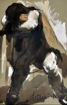Asturi Antonio (Vico Equense, NA 1904 -1980) Il riposo _tecnica mista su carta