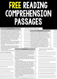 FREE Reading Comprehension Passages and Questions Grade Free Sample) Free Reading Comprehension Passages and Questions for students in third grade, fourth grade and fifth grade. Engaging fictional stories for your elementary classroom. Reading Intervention, Reading Skills, Teaching Reading, Free Reading, Reading Response, Guided Reading, Reading Homework, Teaching 6th Grade, Reading Help