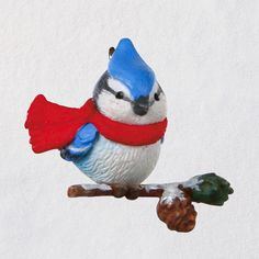 Bird lovers will cherish this adorable miniature Christmas tree ornament, a continuation of the Cozy Lil' Critters series. The charming design features a cute little blue jay bundled up in a bright red scarf as he perches on a snow-capped pine bough. Plastic Christmas Tree, Diy Felt Christmas Tree, Baby First Christmas Ornament, Miniature Christmas Trees, Christmas Fairy, Christmas Stuff, Christmas Holiday, Christmas Decor, Xmas