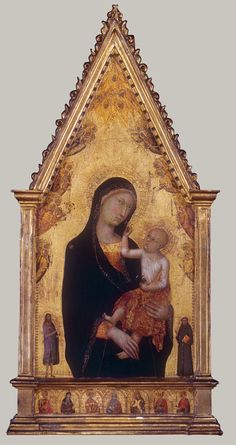 Madonna and Child with Saints and Angels, ca. 1350 Lippo Memmi (Filippo di Memmo) (Italian, Sienese, active by 1317, died 1356) Tempera on wood, gold ground