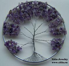 Tree of life window decoration,  With purple Amethyst split