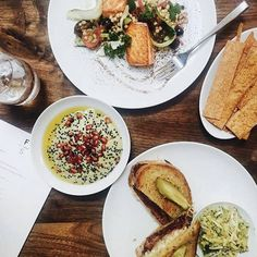 #FarmshopLA Currently at Farmshop. Avocado Hummus, Seared Scottish Salmon and the House Made Pastrami. / Photo credit: Jeannette Ogden